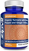 Organic Turmeric 1440mg with Black Pepper & Ginger, 120 Vegan Capsules (2 Month Supply). Soil Association Certified. Veget...
