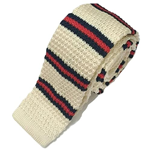 High Quality Men/'s Fashion Striped Knit Knitted Tie Slim Skinny Woven UK Seller