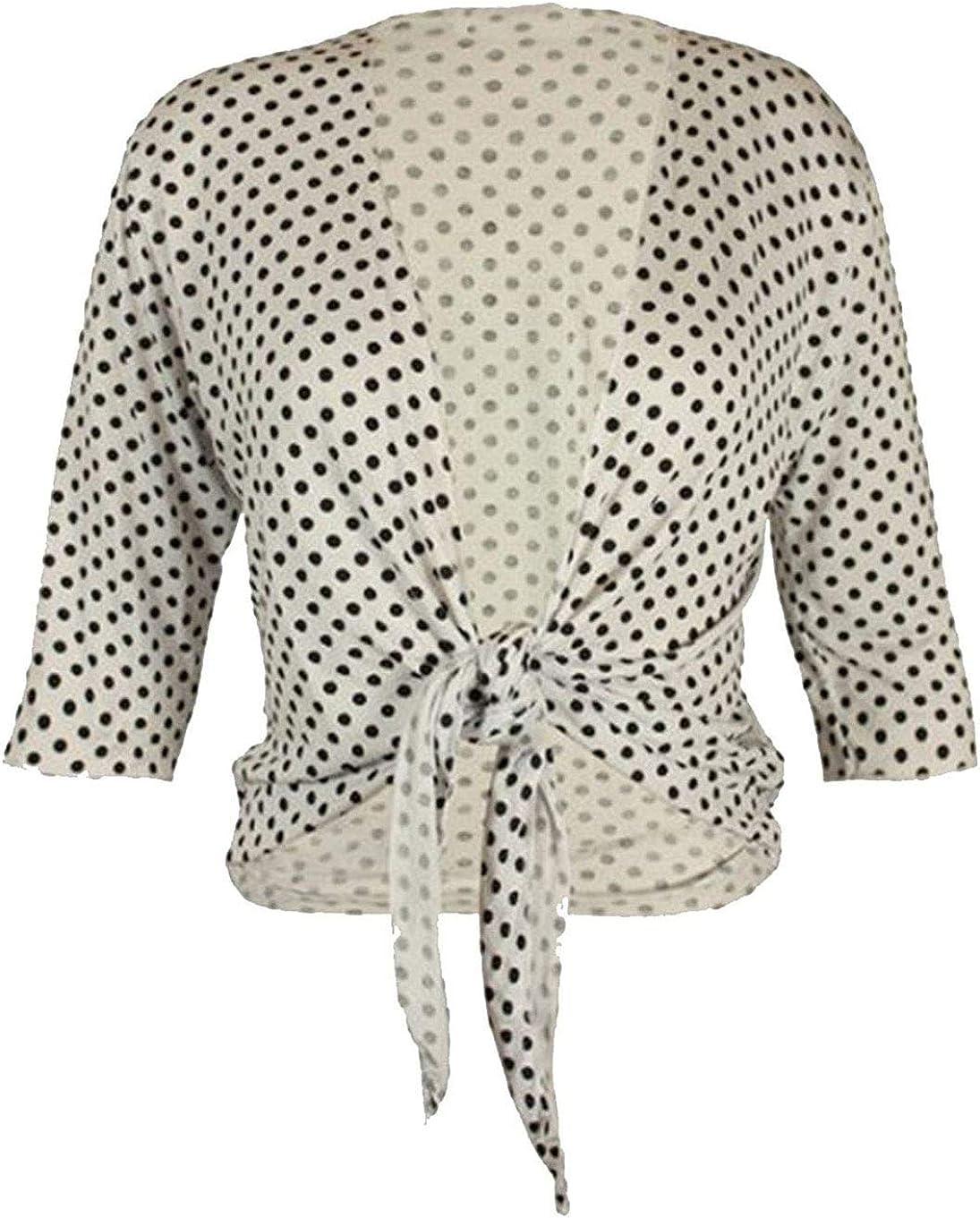 Womens Plain Party Wear 3/4 Polka Dot Tie Front Casual Bolero Cropped Cardigan Shrugs Shirt
