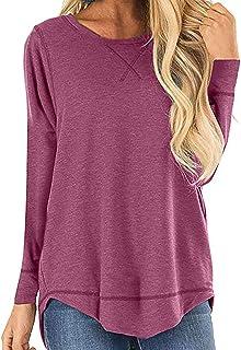 Women Basic Tops Long Sleeve Shirts Casual Loose Side Split Tunic Top Tee Polos