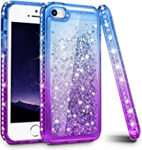 iPhone 5 5S Case, iPhone SE Case, Ruky Gradient Quicksand Series Glitter Flowing Liquid Floating Bling Sparkly Diamond Flexible TPU Girls Women Cute Case for iPhone 5 5S SE (Blue Purple)
