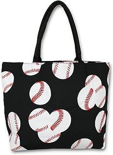 Urbanifi Baseball Sports Prints Utility Canvas Tote Bag Handbag Large Oversized Mom