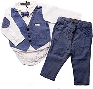 Baby Boy 2 Piece Set Onesie Dress Shirt Attached Vest Attached Bow Tie with Pants Outfit