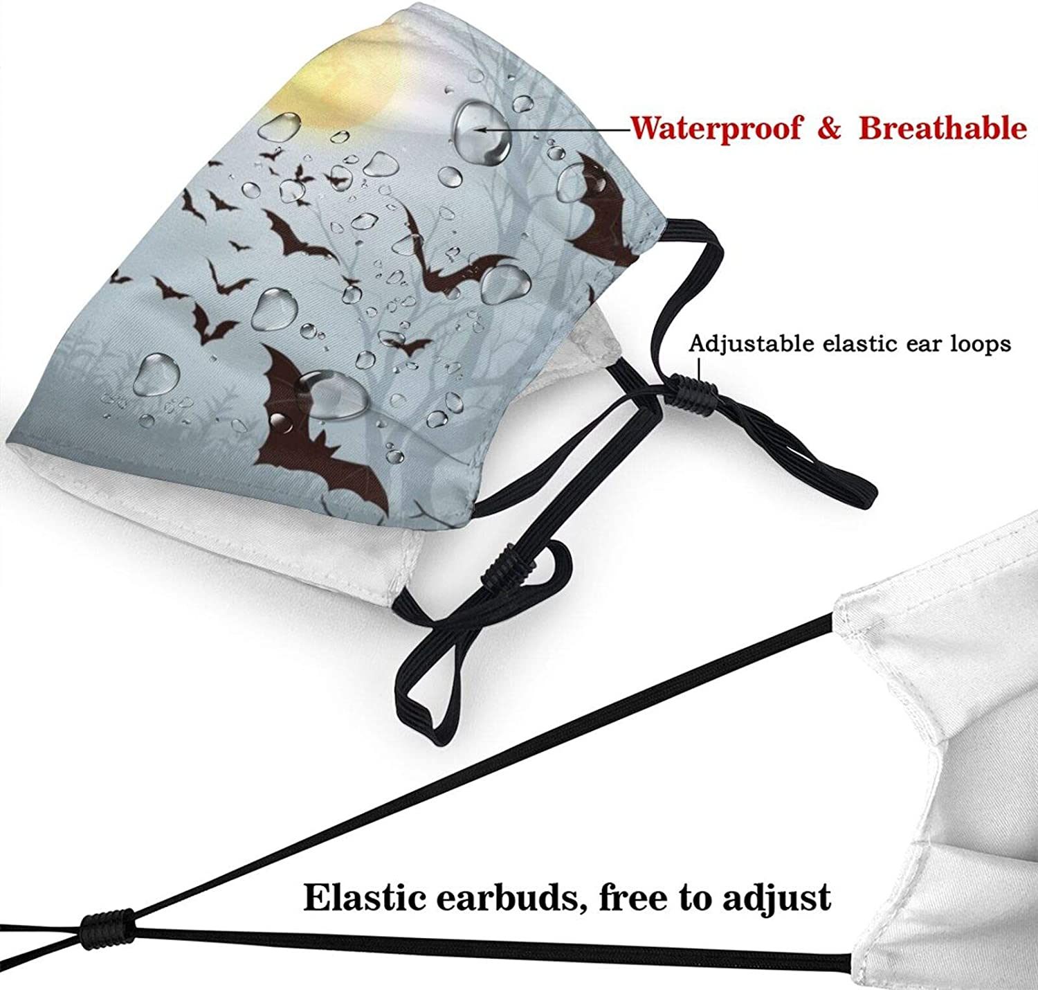 Face Mask Halloween Background Spooky Forest with Full Moon Reusable Adjustable Facial Decorations for Women and Men Washable Shield Balaclava Outdoor Sports Black