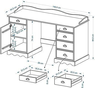 IDIMEX Bureau Sandrine Multi rangements 5 tiroirs et 1 Placard avec corniche en pin Massif lasuré Blanc