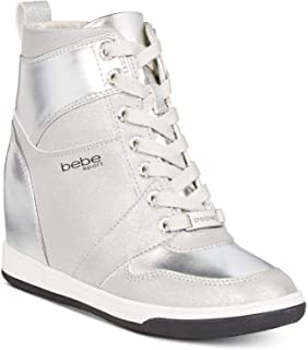 bebe Womens Charlane Hight Top Lace Up Fashion Sneakers, Silver 8.5M
