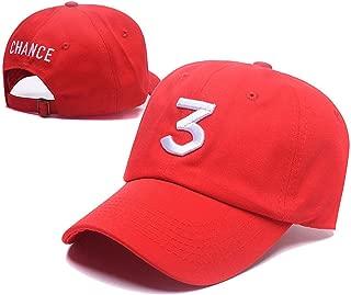 Embroider Chance Baseball Caps Hats Cool Baseball Rapper Number 3 Cap, Rock Hip Hop Classic Casquette with Adjustable Strap, Cotton Sunbonnet Plain Hat, Color Red