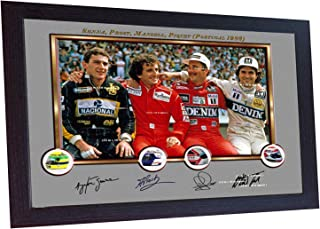 S&E DESING Ayrton Senna Prost Mansell Piquet Signed Autographed Print Photo F1 Framed