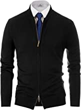 PAUL JONES Mens Casual Full-Zip Cardigan Sweater Stand Collar Long Sleeve Baseball Jacket