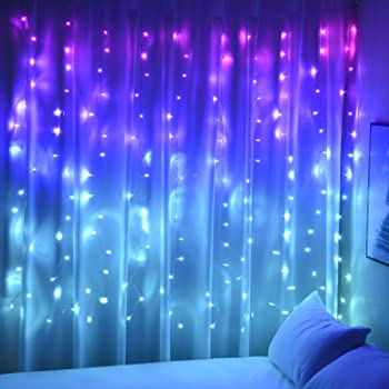 Amazon Com Curtain Lights Pink Purple Fairy Lights For Bedroom Wall Hanging Christmas Lights Twinkly Led Twinkling For Teen Girls Jojo Siwa Unicorn Mermaid Trippy Aesthetic Kawaii Room Decor Purple Pink Ombre Home