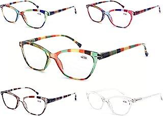 MODFANS Leesbril Vrouwen 5 Pack Mode Dames Lezers voor Lezen Comfort Spring Scharnier Lichtgewicht Cat-Eye Frame Stijlvoll...
