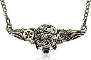 SAE99 Steampunk Antique-Bronze-Tone Wing Gear Pendant Statement Necklace