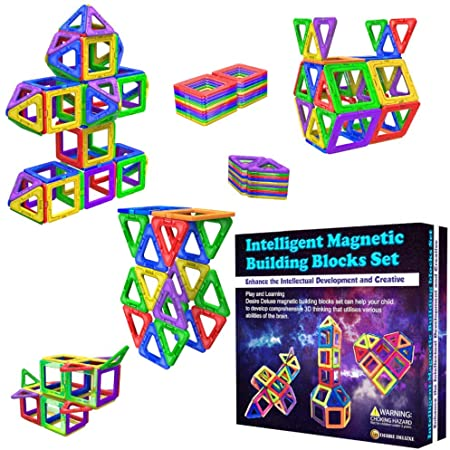 Blocs de Construction Magnétiques – Cadeaux de pour Les Enfants – Blocs de constructions aimantés - Jeux pour garçons et Filles - Créatif et éducatif pour Enfants de 2, 3, 4, 5, 6, 7 Ans