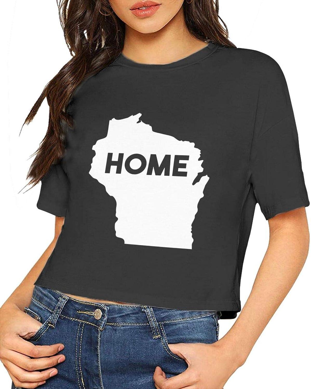 PLICQG Wisconsin is My Home Women's T-Shirt Sexy Round Neck T Fashion Shirt