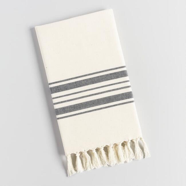 Black Villa Stripe Kitchen Towel | World Market