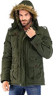 Yozai Mens Winter Military Warm Jacket Fleece Coat with Detachable Fur Hood Outwear