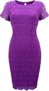 8ff77a5c432b87 Marks & Spencer Heavy Floral Crochet Purple Shift Dress Lined with Short  Sleeves
