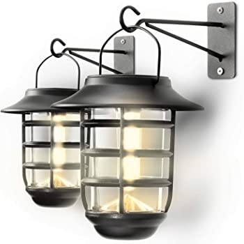 Home Zone Security Solar Wall Lantern Lights - Outdoor 3000K Decorative Light Fixture Wall Mount with No Wiring Required (2-Pack)
