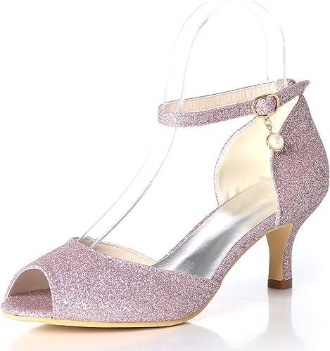 JRYYUE zapatos de Boda mujer Tacón Alto Hebilla Mary Jane Punta Abierta Brillando Satén Gatito Talon 6CM