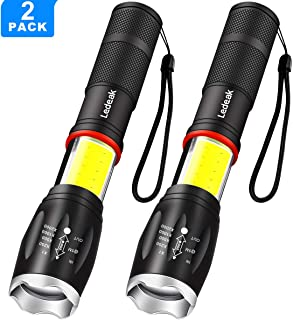 2 Pack Led Flashlight, Ledeak Tactical Flashlight Super Bright 1000 Lumen COB Work Light 2 in 1 with Magnetic Base, 6 Light Modes Handheld Portable Powerful for Camping Hiking Emergency