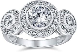 Bling Jewelry Stile Art Deco Argento 925 Passato Presente Futuro Cubic Zirconia AAA CZ 3 La Pietra Halo Circlet Anello di ...