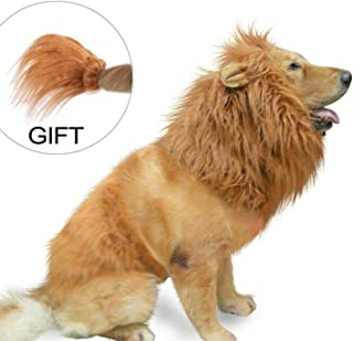 IN HAND Dog Lion Mane - Realistic & Funny Lion Mane for Dogs - Complementary Lion Mane for Dog Costumes - Lion Wig for Medium to Large Sized,Dogs Lion Mane Wig for Halloween