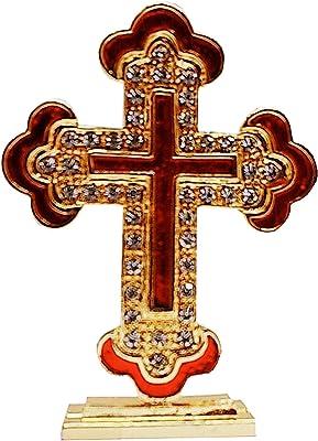 Purpledip Metal Cross with Glittering Gemstones: for Home, Altar or Car (11742)