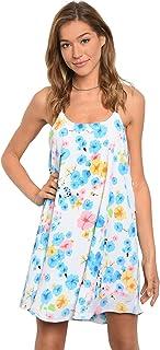 Imaginary Diva Women's Pretty White Blue Yellow Pink Silver Chain Spaghetti Straps Summer Shift Casual Sundress