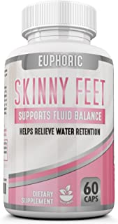 Skinny Feet: Edema Swollen Ankle Legs Supplement Reduces Swelling Bloating Natural Water Pill Diuretic Helps Relieve Achy Swelling on The Legs Feet Calves Hands, Water Retention, Promotes Weight Loss