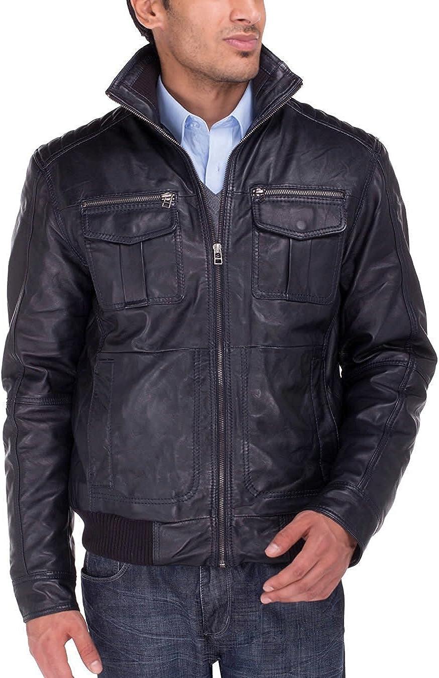 Luciano Natazzi Washington Cheap bargain Mall Men's Trim Fit Leather Blast Washed Lambskin Mot