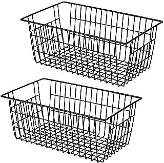 SANNO Farmhouse Baskets Metal Wire Baskets Large Refrigerator Freezer Storage Metal Basket Pantry Organizer Storage Bin Ba...