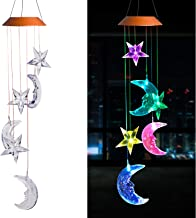 xxschy LED Solar Moon and Star Wind Chimes Outdoor - Waterproof Mobile Romantic Solar Powered Changing Light Color Stars and Moon Wind Chimes for Home, Balcony, Party, Festival,Night Garden Decoration