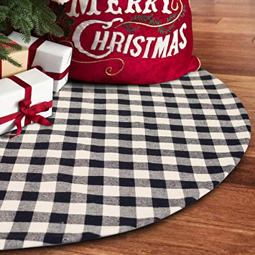 S-DEAL 48 Inches Christmas Tree Skirt Black and White Plaid Buffalo Double Layers Checked Deco for Holiday Party Mat ...
