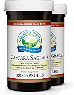 Nature's Sunshine Cascara Sagrada, 100 Capsules, 2 Pack | Natural Laxative from Herbs Helps to Cleanse The Colon and Support Intestinal System Function