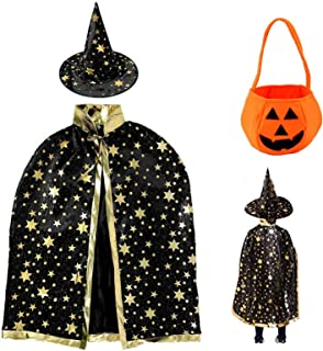 otutun Cape du Magicien d'Halloween, Cape Magique avec Chapeau de Citrouille, Manteau de Sorcière et Chapeau de Magie, Cos...