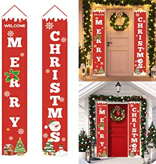 FashionSun Merry Christmas Banner,Christmas Porch Fireplace Wall Signs Flag for Christmas Decorations Outdoor Indoor,Christmas Banner Decoration Red Xmas Sign for Home Party (Welcome Christmas)