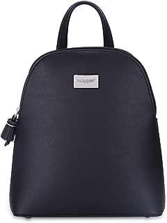 DAVIDJONES Women's Synthetic Leather Multi Pocket Zipper Mini Backpack Travel Bookbag Purse