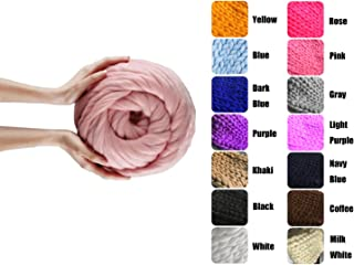 EASTSURE Merino Roving Soft Chunky Wool Yarn for Arm Knitted DIY Your Favorite Thick Blankets (Pink - 0.55LB)