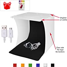 Upgraded 2018 Portable Photo Light Box for Jewellery and Small Items,Photography Studio Box,Photography Shooting Light Tent Kit with 2x20 LED Lights +6 Backdrops and Card Reader