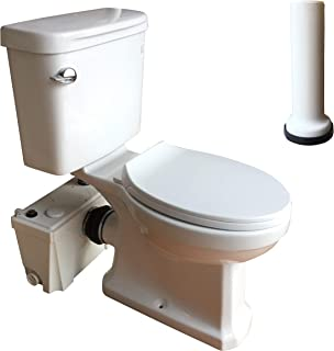 INTELFLO 500Watt Upflush Toilet Set with Macerator Pump, Water Tank, Elongated Bowl and Extension Pipe Between Toilet and Macerator (500watt)