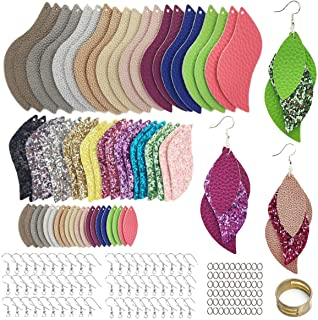 AOUXSEEM 181 Pcs Leaf Faux Leather Earrings Making Kit for Beginner, Contains 60 Pre Cut Lightweight Litchi Glitter Printe...