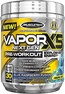 MuscleTech Vapor X5 Next Gen Pre Workout Powder, Explosive Energy Supplement, Blue Raspberry, 30 Servings (9.4oz)