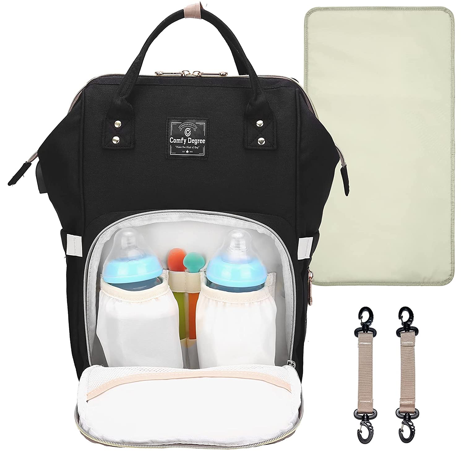 ComfyDegree Diaper Bag, Large Baby Multifunction Waterproof Fabric Travel Nappy Changing Backpack with USB Charging Port and Insulated Bottle Warmer Pockets for Mom and Dad (Black)
