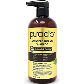 PURA D'OR Advanced Therapy Shampoo Reduces Hair Thinning & Increases Volume, No Sulfate, Biotin Shampoo Infused with Argan Oil, Aloe Vera for All Hair Types, Men & Women,16 Fl Oz