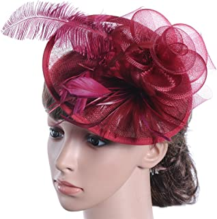 APXPF Womens Feather Mesh Net Sinamay Fascinator Hat with Hair Clip Tea  Party Derby 82f648f1bdcd