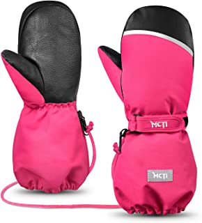 MCTi Kids Mittens Waterproof Winter Ski Warm Sherpa Lined Long Cuff with String Red XS