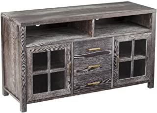 Southern Enterprises Kellerman Rustic Media Console - Dark Gray w/White Weathered Finish - Farmhouse Style