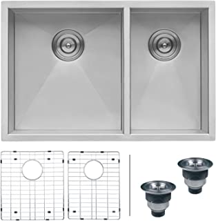 Ruvati 32-inch Undermount 60/40 Double Bowl Zero-Radius 16 Gauge Stainless Steel Kitchen Sink - RVH7515