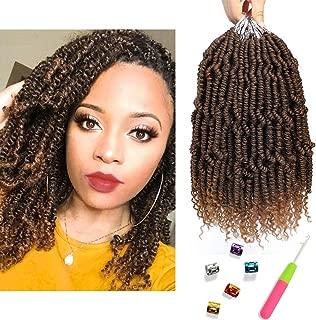 Bomb Twist Crochet Hair 6 Packs Spring Twist Braiding Hair Passion Twist Hair 10inch Pre looped Crochet Hair Synthetic Hair Extension Fluffy Twist Dreadlocks Hair for Women (T1B/30)