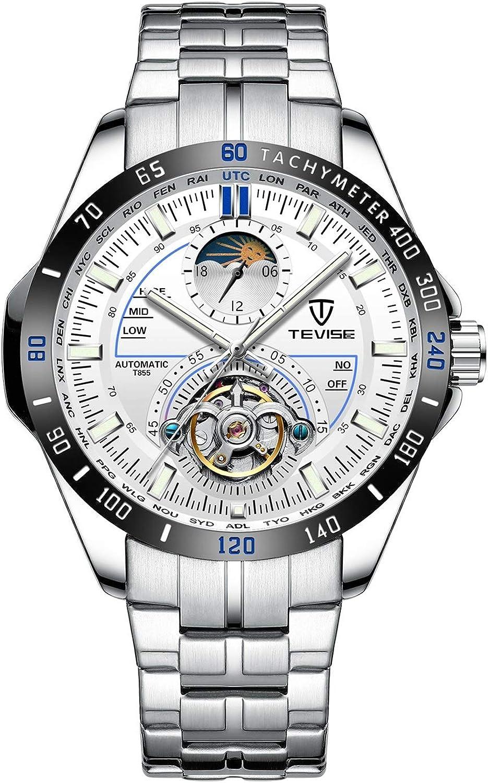 ZHANGZZ Hermoso Reloj TEVISE, TeviseTEVISE Reloj automático para Hombre con Seis Agujas y Reloj mecánico para Hombre de Gran tamaño.